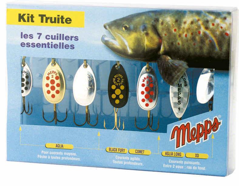 Mepps Mepps Mepps set kit trucha spinnersortiment arte cebo raubfischköder 7 unid. 60595b