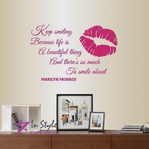 Vinyl Decal Keep Smiling Marilyn Monroe Quote Lips Print Art Wall