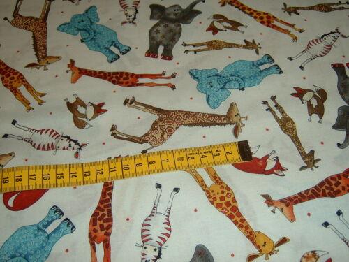 Elefante jirafa cebra zorro zoo flexibles jungla algodón patchwork de tela
