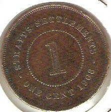 Offer>1908 Straits Settlements KEVll  1 cent very high grade. details! scare??