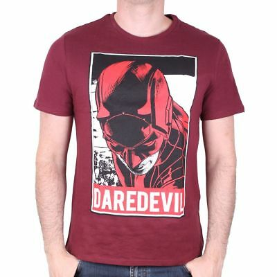 OFFICIAL MARVEL COMICS - DAREDEVIL OBEY STYLED PRINT BURGUNDY T-SHIRT (NEW)