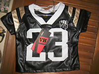 Vintage Harlemnwt's Sz 3t Girl's Black& White Pleather Football Jersey Short S