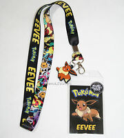 Pokemon Go Eevee Evolutions Lanyard Id Park Pin Holder W/ Rubber Charm Nintendo