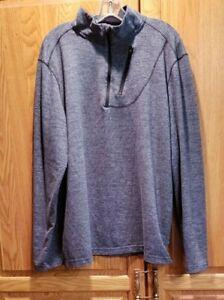 Swiss-Tech-Men-039-s-Gray-Stretch-Long-Sleeve-Half-Zip-Pullover-Top-Size-XL