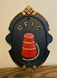 Vintage-Cast-Iron-United-Fire-Insurance-UFIC-Mark-Advertising-Wall-Sign-Plaque