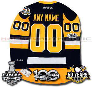 PITTSBURGH PENGUINS ANY NAME & NUMBER 2017 STANLEY CUP JERSEY REEBOK 100TH 50TH