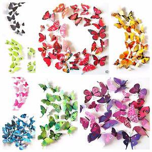 12 Pieces 3D Butterfly Art Decal Home Decor PVC Butterflies Wall
