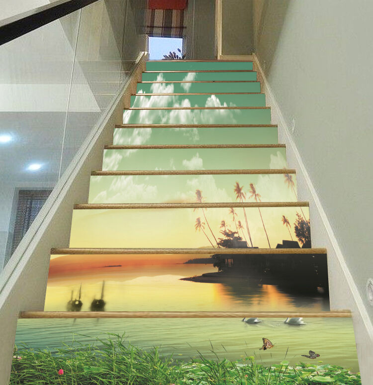 3D River Sky 7 Stair Risers Decoration Photo Mural Vinyl Decal Wallpaper CA