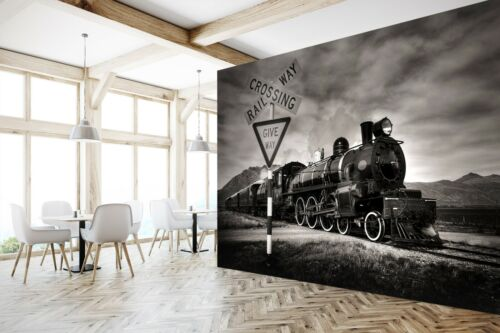 3D Train Street Sign P29 Transport Wallpaper Mural Self-adhesive Removable Zoe