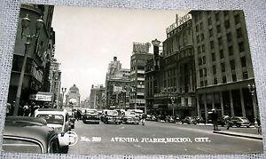 Vintage Avenida Juarez, Mexico City, Street Scene Real Photo Postcard