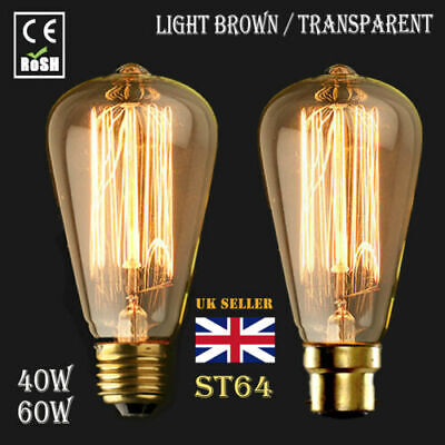 6 x ST64 B22 60W Dimmable Filament Vintage Antique Edison Squirrel Cage Bulbs