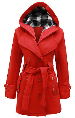 WOMENS BELTED BUTTON COAT NEW LADIES HOODED MILITARY JACKET PLUS SIZE 8 TO 20