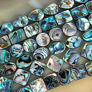 Natural-Abalone-Shell-Gemstone-Beads-15-5-034-Oval-Square-Coin-Oblong-Etc