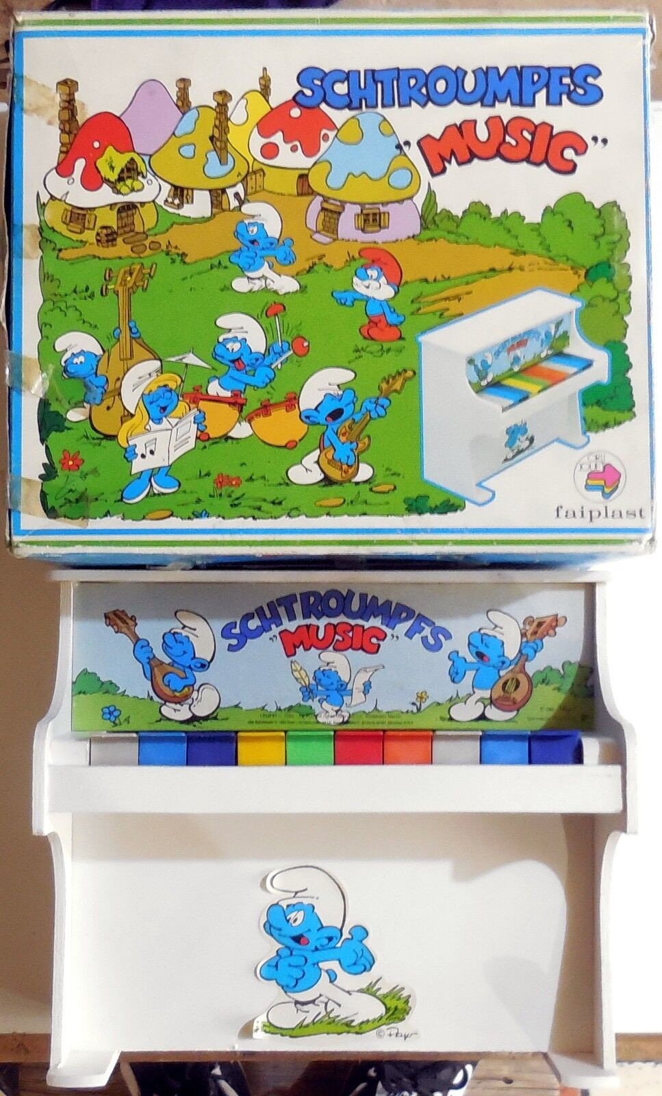 VINTAGE TOY BOXED PIANO PUFFI MUSIC SMURF PEYO  FAIPLAST 1983 MADE IN ITALY