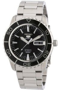 Seiko-5-Deportes-Reloj-Hombre-Automatico-Dia-Fecha-Negro-SNZH55K1-Stahlarmband