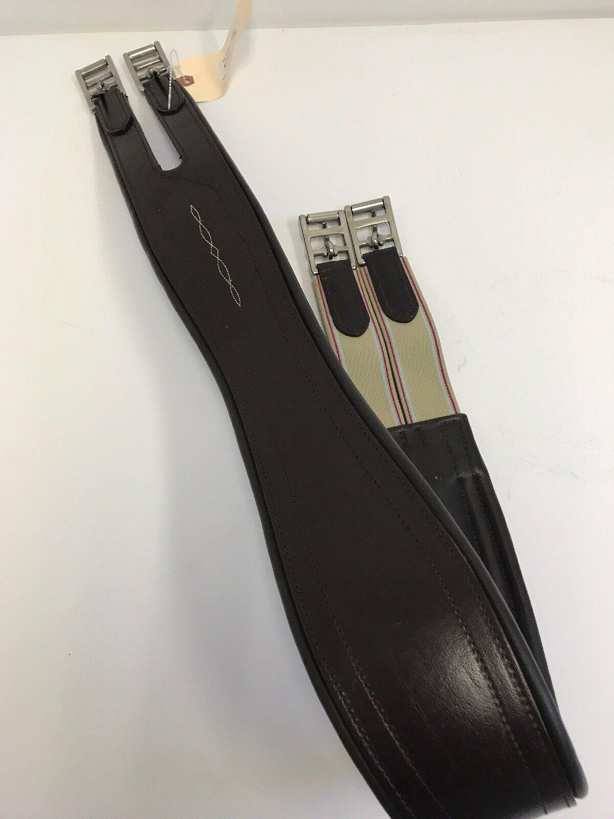 Una superposición de cuero marrón oscuro final Elástica Rodillo De Acero Inoxidable Hebilla Cincha De 46  Nuevo