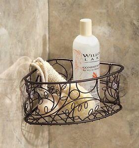 bronze shower caddy suction cup metal corner basket bathroom rh ebay com bathroom corner wire basket bathroom corner basket