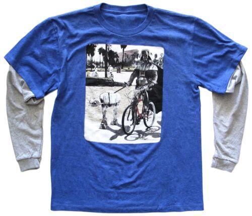Star Wars Darth Vader Riding Bike Walking AT-AT Big Boys Blue Long Sleeve Shirt