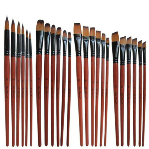 6 pcs Paint Brush Aet for Watercolor Acrylic Oil Painting Handmade Nylon Hair A