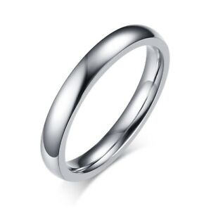 3mm-Stainless-Steel-Wedding-Band-Men-Women-Engagement-Silver-Tail-Ring-Size-4-12