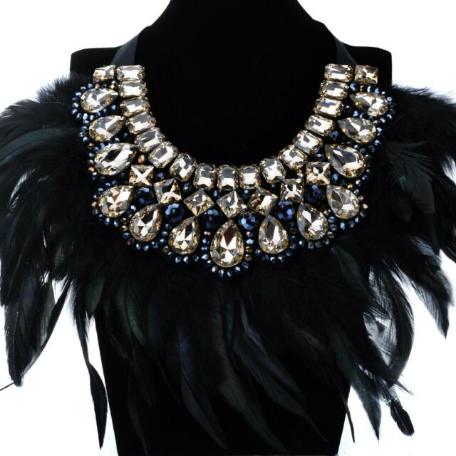 Fashion Women Black Feather Shiny Crystal Cluster Beauty Charm Party Necklace