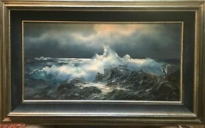 Rosemary-Miner-original-oil-painting-ocean-seascape-034-Moonlit-Tidepool-034