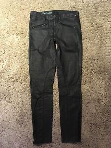 Sort Jeans Motorcycle H88 Størrelse Skinny Euc Zip Ankel 27 Coated Madewell tEqUYE