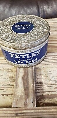 VINTAGE ANTIQUE TETLEY TEA BAG TIN CONTAINER FOR 100 TEA BAGS WITH LID