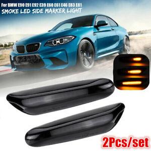 Paire-LED-Ambre-Clignotant-Dynamique-Repetiteur-Noir-for-BMW-E46-E60-E61-E90-E91