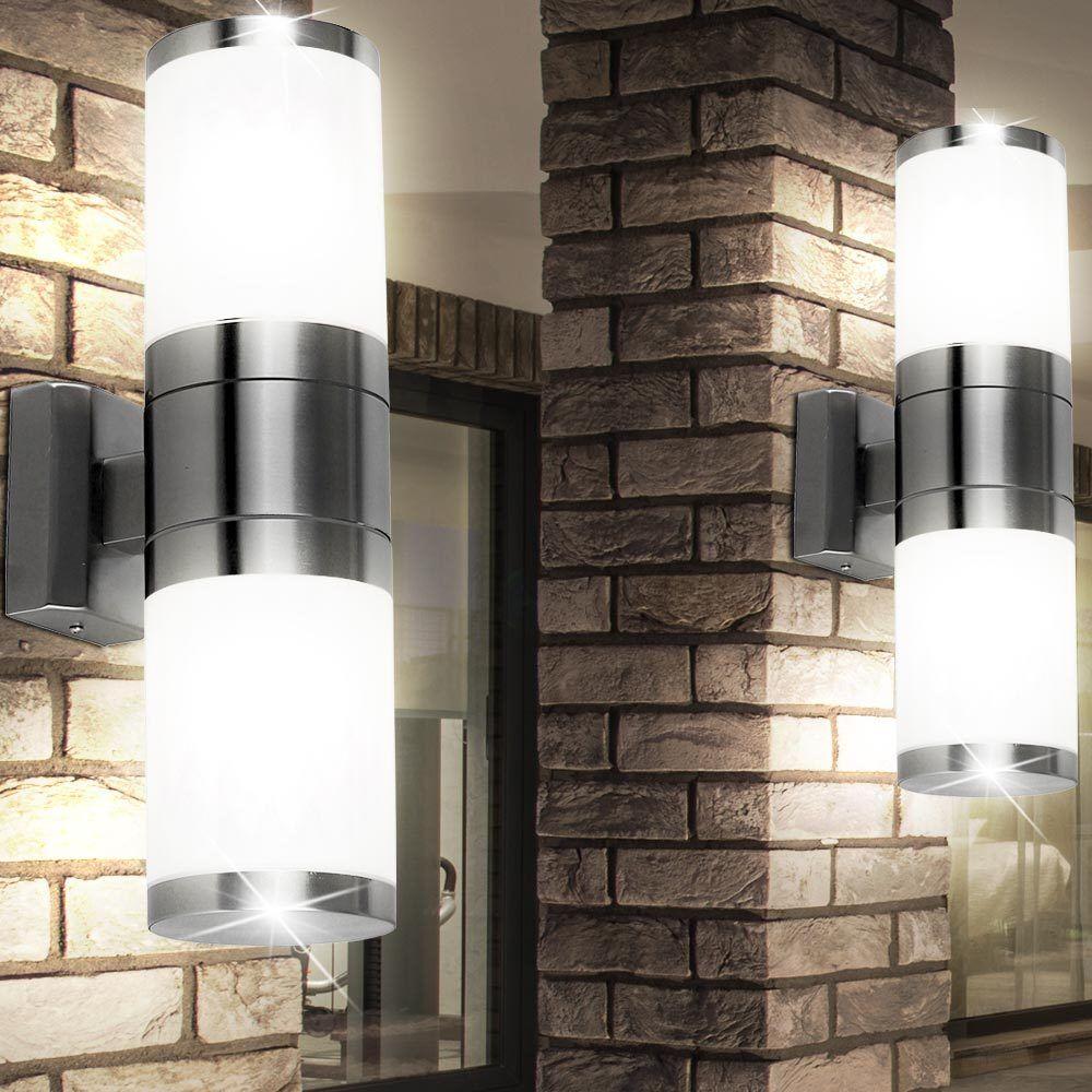 2er set exterior up down emisor lámparas de parojo de acero inoxidable las luces patio luminarias