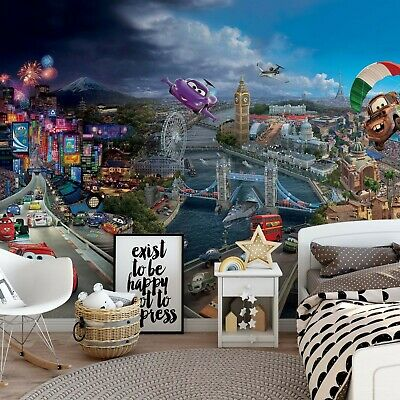 144x100inch Giant Feature wall mural wallpaper kids bedroom Disney Cars red art