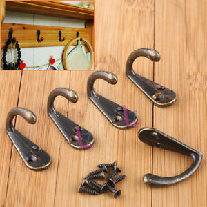 10X Wall Door Metal Retro Double Hook Hanger For Key Clothes Coat Hat Bags Towel