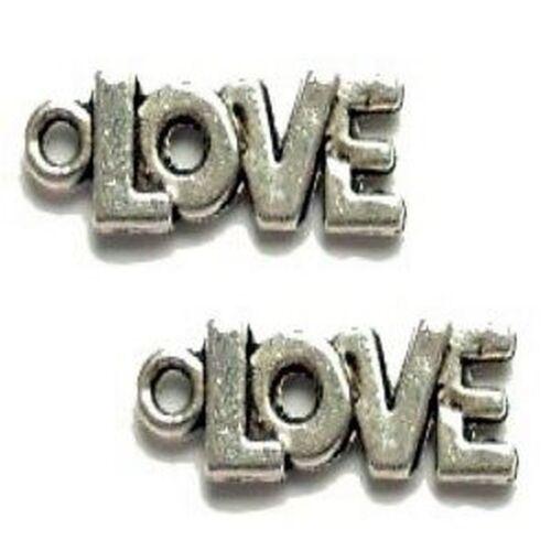 10 pcs word LOVE Tibetan Silver Alloy Charm Pendants A0024