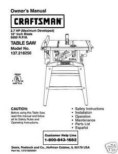 Sears craftsman table saw manual model 137218250 ebay image is loading sears craftsman table saw manual model 137 218250 keyboard keysfo Choice Image