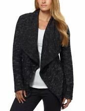 b04ced02cb788e BNCI by Blanc Noir Women s Tweed Drape Open Front Shawl Collar Cardigan