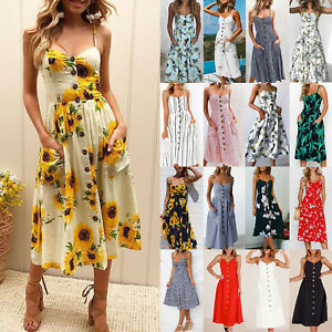 8bc516045d Summer Womens Ladies Sexy Buttons Beach Party Midi Dress Holiday ...