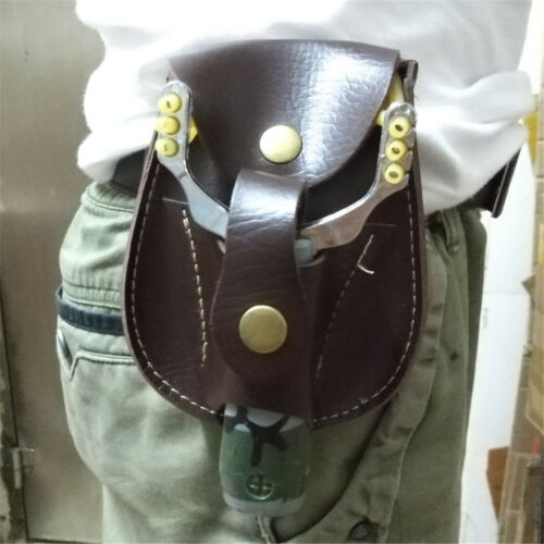 Outdoor Jagd Fiber Leder Slingshot Katapult Tasche Tasche Gürteltasche DE