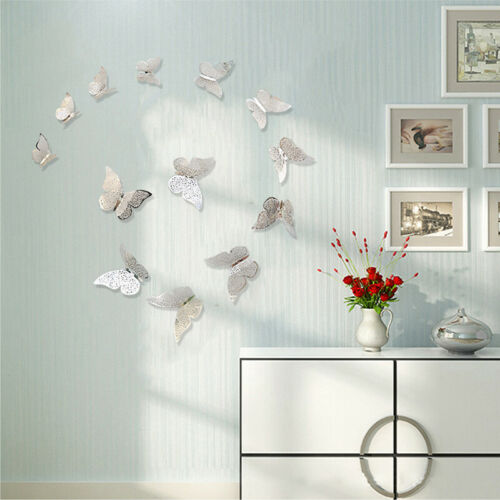 12 Pcs 3D Hollow Wall Stickers Butterfly Fridge for Home Decoration