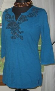 Coldwater-Creek-Women-039-s-Blouse-Pullover-Top-Embroidered-Blue-Size-Small
