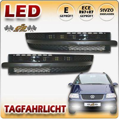 VW SHARAN 7M9 LED Tagfahrlicht TFL Set BLACK im Nebel Gitter Bj:2000-2010  NEU