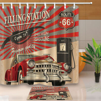 Route 66 Decor Filling Station For Car Bathroom Fabric Shower Curtain Set 71inch Ebay