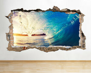 W221 ocean sea wave surfing beach wall decal poster 3d art stickers