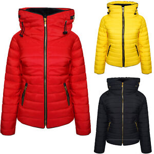 Details about Womens Ladies Quilted Winter Coat Puffer Fur Collar Hooded Jacket Parka Size