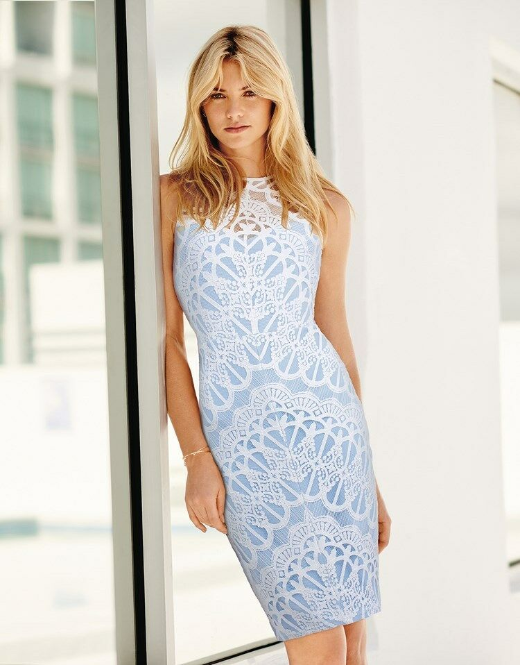 New Lipsy Cornflower bluee & White All Over Lace Dress Sz