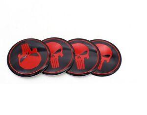 4-x-56mm-Punisher-Felgensticker-Nabenkappen-Rot-Schwarz-Skull-Aufkleber-Logo-Neu