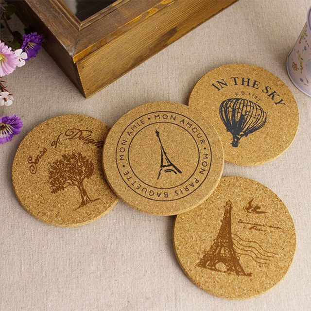 Newest Cork Wood Tea Coffee Cup Coaster Flexible Table  Resistant Round Mats