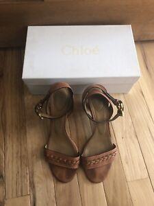 CHLOE Caramel Nude Leather Sandals