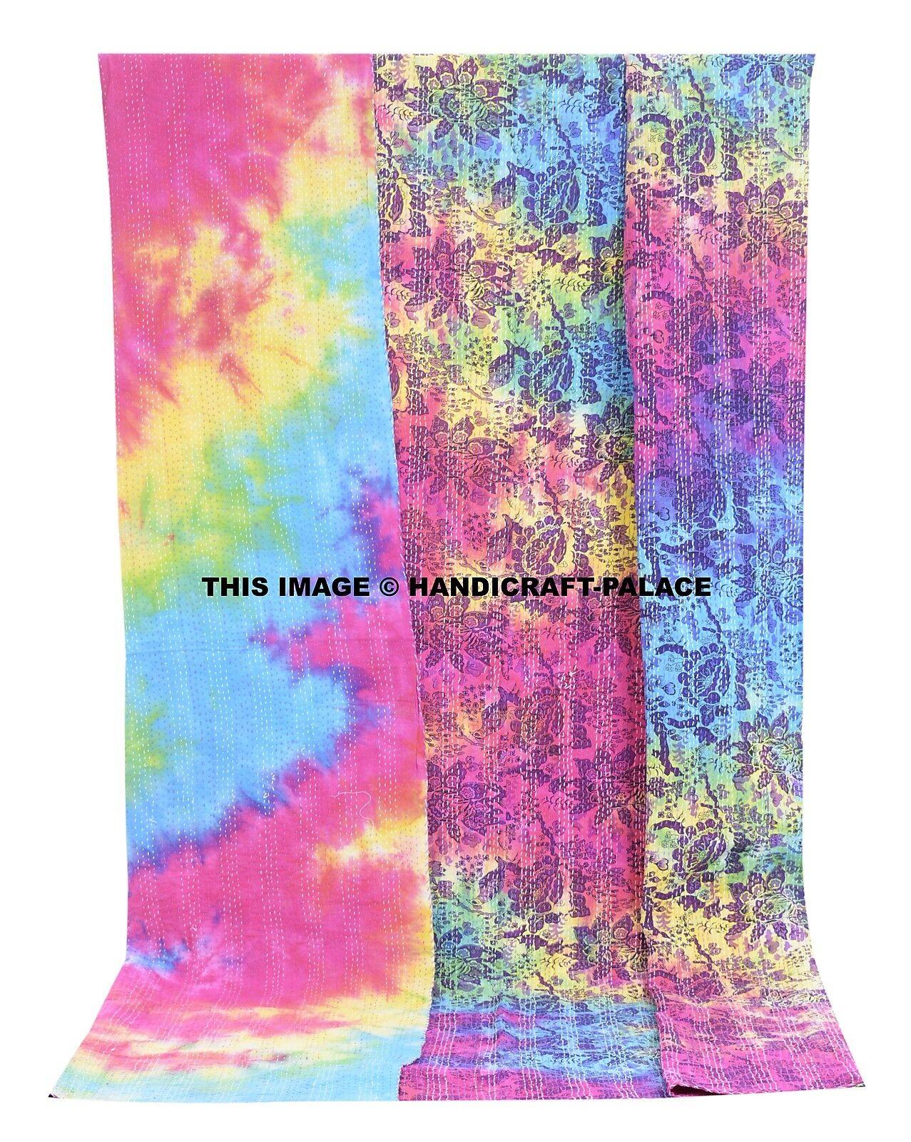 Indian Kantha Quilt Bird Floral Tie Dye Print Cotton Bedspread Queen Blanket