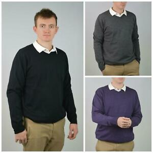 SEARS-Mens-Pure-Merino-Wool-V-Neck-Jumper-Pullover-Super-Quality