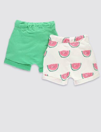 BNWT M/&S Girls 2 Pack Melon Print /& Green Shorts
